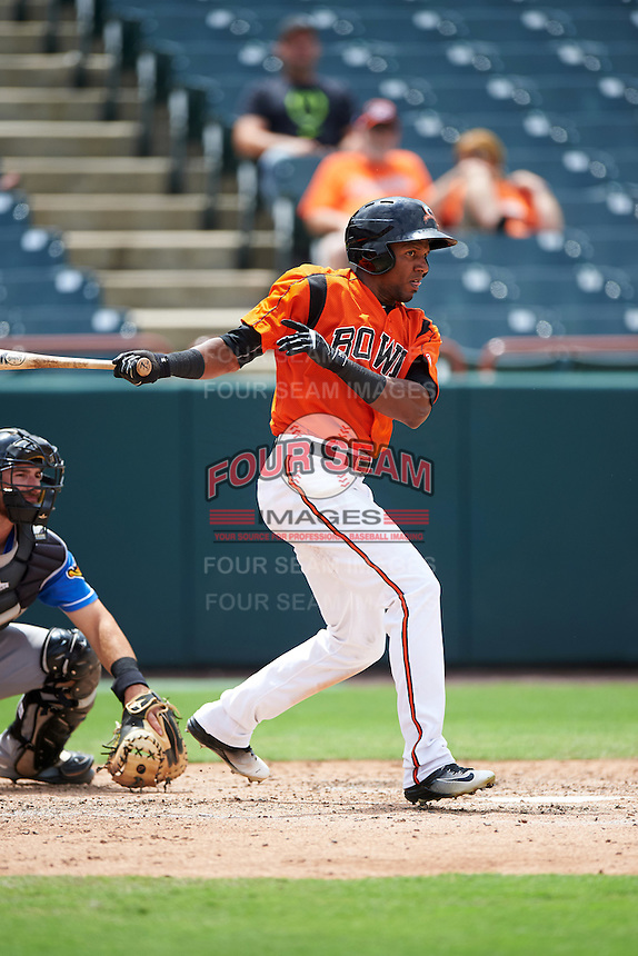 Bowie Baysox center fielder Julio Borbon (24) at bat during the first game of a doubleheader against the Akron RubberDucks on June 5, 2016 at Prince George's Stadium in Bowie, Maryland.  Bowie defeated Akron 6-0.  (Mike Janes/Four Seam Images)