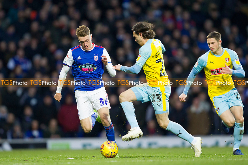 Jack Lankester of Ipswich Town has his forward run intercepted by Ryan Williams of Rotherham United during Ipswich Town vs Rotherham United, Sky Bet EFL Championship Football at Portman Road on 12th January 2019
