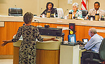Lisa Kirk, one of the H.A.L.O. (Homeless Animals Lifeline Organization) and Rivertown Cats volunteers pleads with the City Council to reconsider the feral cat feeding ban on public property in Antioch, California on August 26, 2014.  Photo/Victoria Sheridan