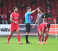 Lincoln City's Bruno Andrade is shown a red card by referee Ben Toner<br /> <br /> Photographer Andrew Vaughan/CameraSport<br /> <br /> The EFL Sky Bet League Two - Swindon Town v Lincoln City - Saturday 12th January 2019 - County Ground - Swindon<br /> <br /> World Copyright &copy; 2019 CameraSport. All rights reserved. 43 Linden Ave. Countesthorpe. Leicester. England. LE8 5PG - Tel: +44 (0) 116 277 4147 - admin@camerasport.com - www.camerasport.com