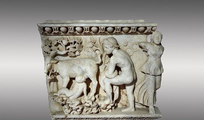 Roman relief sculpture of the Dionysus and Pan. Roman 2nd century AD, Laodicea. Hierapolis Archaeology Museum, Turkey . Against a grey background