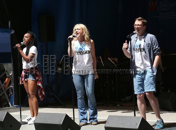 Kristolyn Lloyd, Rachel Bay Jones and Will Roland on stage at United Airlines Presents #StarsInTheAlley free outdoor concert in Shubert Alley on 6/2/2017 in New York City.