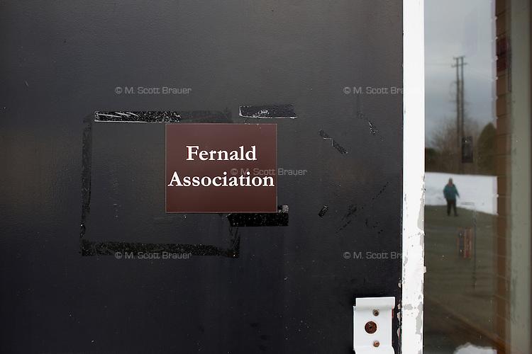 """A sign reads """"Fernald Association"""" at the Fernald Developmental Center in Waltham, Massachusetts, USA."""