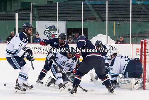 Keith Muehlbauer (Maine - 18), Spencer Naas (UConn - 8), Eric Schurhamer (Maine - 25), Blaine Byron (Maine - 89), Rob McGovern (Maine - 35) - The University of Maine Black Bears defeated the University of Connecticut Huskies 4-0 at Fenway Park on Saturday, January 14, 2017, in Boston, Massachusetts.