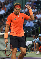KEY BISCAYNE, FL - APRIL 02: Novak Djokovic of Serbia defeats David Ferrer of Spain in their quarter final during the Miami Open at Crandon Park Tennis Center on April 2, 2015 in Key Biscayne, Florida<br /> <br /> <br /> People:  David Ferrer<br /> <br /> Transmission Ref:  FLXX<br /> <br /> Must call if interested<br /> Michael Storms<br /> Storms Media Group Inc.<br /> 305-632-3400 - Cell<br /> 305-513-5783 - Fax<br /> MikeStorm@aol.com