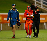 1st November 2019; Western Australia Cricket Association Ground, Perth, Western Australia, Australia; Womens Big Bash League Cricket, Perth Scorchers versus Melbourne Renegades; Claire Kossi of the Melbourne Renegades is helped from the field after injuring her arm - Editorial Use