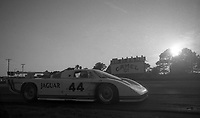 #44 Jaguar XJR-5 of Bob Tullius and Chip Robinson at sunset at the 12 Hours of Sebring, at Sebring Raceway, Sebring, FL, March 23, 1985.  (Photo by Brian Cleary/www.bcpix.com)