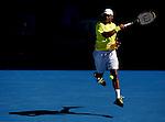 Jo-Wilfred Tsonga (FRA) in action against Dudi Sela (ISR) on day 6 of the Australian Open Tennis , 24-1-09