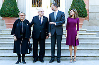 King Felipe VI of Spain (2R) and Queen Letizia of Spain (R) receive Israeli President Reuven Rivlin (2L) and wife Nechama Rivlin (L) for an official lunch at the Zarzuela Palace. November 6,2017. (ALTERPHOTOS/Acero)