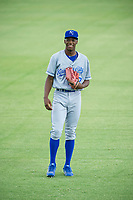 AZL Royals Isaiah Henry (17) warms up in the outfield prior to the game against the AZL Mariners on July 29, 2017 at Peoria Stadium in Peoria, Arizona. AZL Royals defeated the AZL Mariners 11-4. (Zachary Lucy/Four Seam Images)