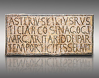 "6th century Inscription of the great hall of the synagogue of Nam-Ham-mam-Lif in the Roman province of Africa Proconsularis, present day Tunisia. The mosaic floor of the vestibule (porticus) was an offering from Asterius son of Rusticus, the Head of the Jewish community who was working in the Naro jewellers trade. The mosaic reads in Latin  ""Asterius, filius Rustici, arcosinagogi, margaritari, (de d(onis) dei partemporticites-selavit"".  The Bardo National Museum, Tunis Tunisia.   Against a grey background.<br /> <br /> The so called synagogue of Naro (Hammam-Lif, Tunisia), discovered in 1883, is a square buil-ding (20 by 20 m), consisting of several rooms and hallways communicating with an inner courtyard. The plan is inspired by traditional domestic architecture of Roman Africa. The room, dedicated to religious ceremonies, was paved with a magnificent mosaic of several figured panels with an iconography highlighting Judaeo-Christian concepts, attesting a proselyte attitude addressing a local Judaic community, who was very active between the late fifth c. and the early sixth century AD."