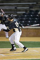 Gavin Sheets (24) of the Wake Forest Demon Deacons follows through on his swing against the Delaware Blue Hens at Wake Forest Baseball Park on February 13, 2015 in Winston-Salem, North Carolina.  The Demon Deacons defeated the Blue Hens 3-2.  (Brian Westerholt/Four Seam Images)