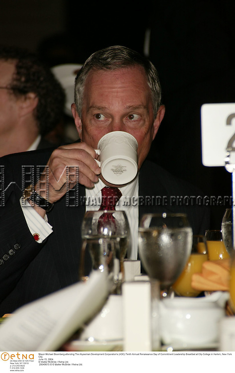 Mayor Michael Bloomberg attending The Abyssinian Development Corporation's (ADC) Tenth Annual Renaissance Day of Commitment Leadership Breakfast at City College in Harlem, New York City..June 15, 2004..© Walter McBride /