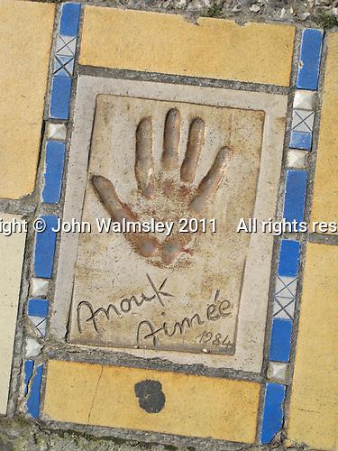 Hand print of the film star, Anouk Aimee, outside the Palais des Festivals et des Congres, Cannes, France.