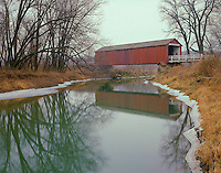 Bureau County, IL: Red Covered Bridge over Bureau Creek in winter