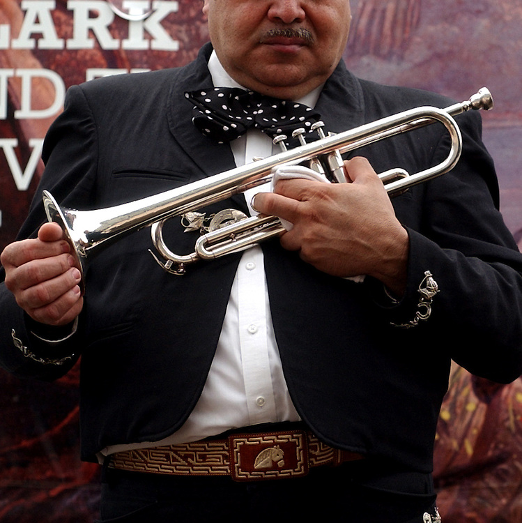 marachi3/080703 - Francisco Soto, trumper player for the Mariachi Los Amigos, waits to play at the Library of Congress, the second band in the Capitol Roots series.