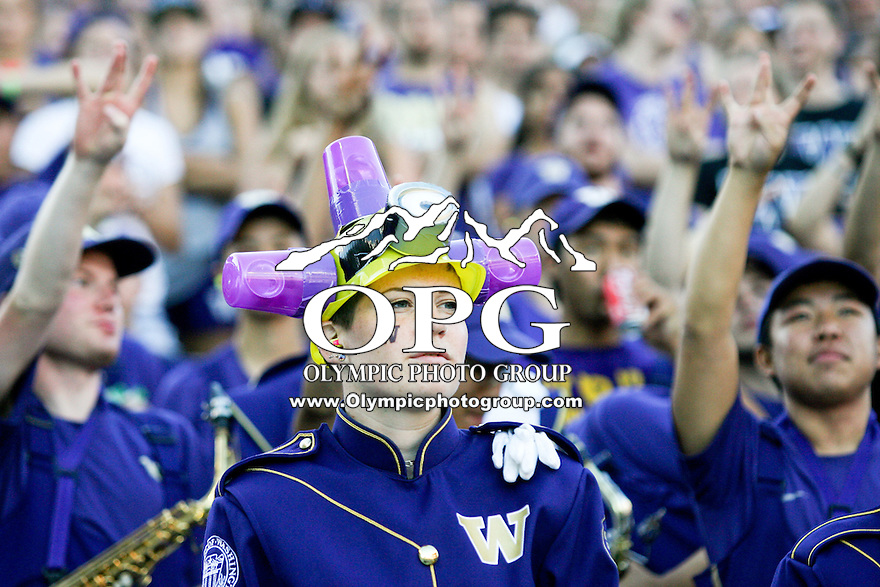 Sept 20, 2014:  Washington band members showed there team spirit through out the game against Georgia State.  Washington defeated Georgia State 45-14 at Husky Stadium in Seattle, WA.