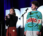 "Caitlin Houlahan and Colton Ryan from ""Girl from the North Country"" during the BroadwayCON 2020 First Look at the New York Hilton Midtown Hotel on January 24, 2020 in New York City."