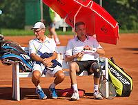 Netherlands, Amstelveen, August 22, 2015, Tennis,  National Veteran Championships, NVK, TV de Kegel,  Men's doubles 55+, Rolf Thung/Frits Raijmakers(L)<br /> Photo: Tennisimages/Henk Koster