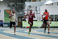 WINSTON-SALEM, NC - FEBRUARY 07: Kaleb Bryant #6 of Wake Forest University, Larry Trotter #5 of NC Central University, and Trevon Compito #4 of Campbell University race the line in the Men's 200 Meters at JDL Fast Track on February 07, 2020 in Winston-Salem, North Carolina.