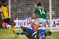 Action photo during the match Mexico vs Jamaica Corresponding to  Group -C- of the America Cup Centenary 2016 at Rose Bowl Stadium.<br /> <br /> Foto de accion durante el partido Mexico vs Jamaica, Correspondiente al Grupo -C- de la Copa America Centenario 2016 en el Estadio Rose Bowl, en la foto: (i-d) Javier Hernandez de Mexico y Andre Blake de Jamaica<br /> <br /> <br /> 09/06/2016/MEXSPORT/Jorge Martinez.
