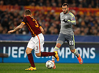 Calcio, andata degli ottavi di finale di Champions League: Roma vs Real Madrid. Roma, stadio Olimpico, 17 febbraio 2016.<br /> Real Madrid's Jese', right, is challenged by Roma's Lucas Digne during the first leg round of 16 Champions League football match between Roma and Real Madrid, at Rome's Olympic stadium, 17 February 2016.<br /> UPDATE IMAGES PRESS/Riccardo De Luca