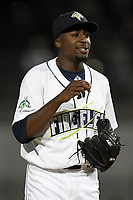 Starting pitcher Tony Dibrell (8) of the Columbia Fireflies talks to his catcher during a game against the Augusta GreenJackets on Opening Day, Thursday, April 5, 2018, at Spirit Communications Park in Columbia, South Carolina. Columbia won, 4-2 and Dibrell struck out six and allowed just one hit in four innings. (Tom Priddy/Four Seam Images)