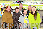 Pictured at Listowel Races on Sunday, from left: Kathleen Carmody (Asdee), Mary Pierce (Ballyduff), Stephen Pierce (Ballyduff), Vincent Pierce (Ballyduff), Con Carmody (Asdee) and Tara Pierce (Ballyduff)..