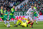 10.02.2019, Weser Stadion, Bremen, GER, 1.FBL, Werder Bremen vs FC Augsburg, <br /> <br /> DFL REGULATIONS PROHIBIT ANY USE OF PHOTOGRAPHS AS IMAGE SEQUENCES AND/OR QUASI-VIDEO.<br /> <br />  im Bild<br /> <br /> Ludwig Augustinsson (Werder Bremen #05)<br /> Michael Gregoritsch (FC Augsburg #11)<br /> Philipp Bargfrede (Werder Bremen #44)<br /> #Jiri Pavlenka (Werder Bremen #01)<br /> <br /> Foto &copy; nordphoto / Kokenge
