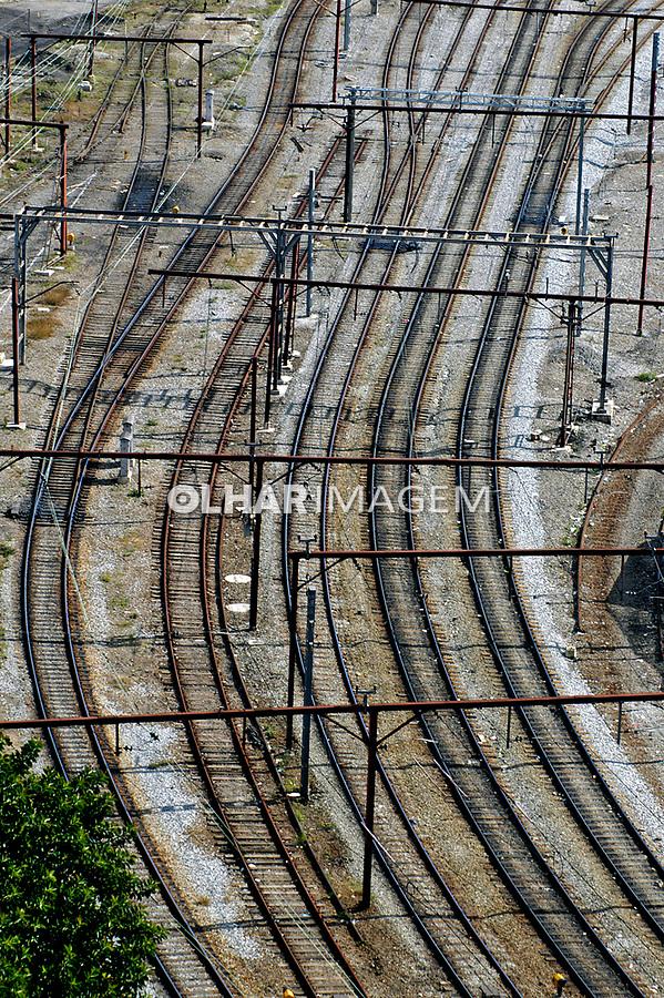 Linhas de trem no Brás, São Paulo. 2004. Foto de Juca Martins.