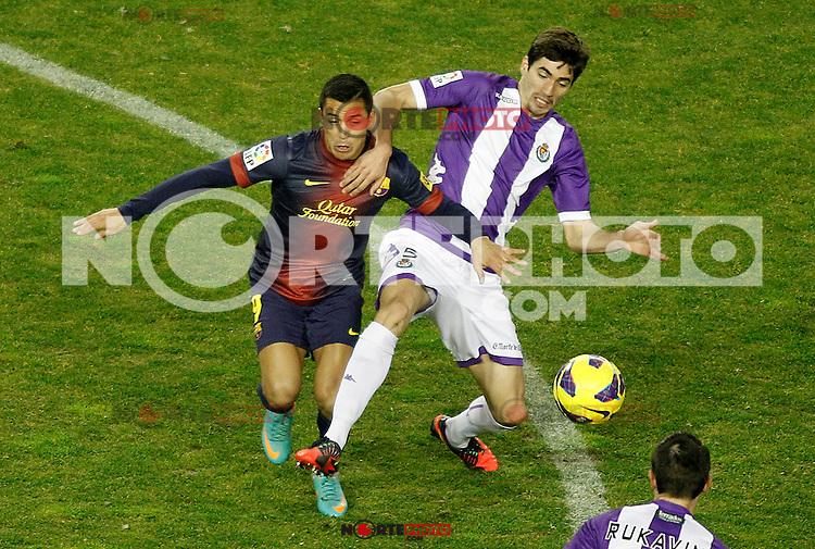 Real Valladolid's Henrique Sereno (r) and FC Barcelona's Alexis Sanchez during La Liga match.December 22,2012. (ALTERPHOTOS/Acero) /NortePhoto