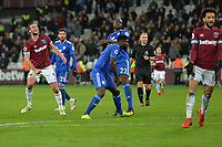Andy Carroll Of West Ham United shoots  during West Ham United vs Cardiff City, Premier League Football at The London Stadium on 4th December 2018