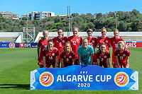 20200307  Lagos , Portugal : Team Denmark ( Danish forward Emma Snerle (2) , Danish defender Simone Boye Soerensen (5) , Danish midfielder Sanne Troelsgaard (7) , Danish defender Theresa Eslund (8) , Danish forward Pernille Harder (10) , Danish forward Stine Larsen (12) , Danish midfielder Nicoline Soerensen (14) , Danish forward Rikke Marie Madsen (17) , Danish forward Sara Holmgaard (18) , Danish goalkeeper Kathrine Larsen (22) , Luna Gevitz (27) ) pictured during the female football game between the national teams of Sweden and Denmark on the second matchday of the Algarve Cup 2020 , a prestigious friendly womensoccer tournament in Portugal , on saturday 7 th March 2020 in Lagos , Portugal . PHOTO SPORTPIX.BE | STIJN AUDOOREN