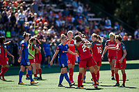 Seattle, WA - Saturday, August 26th, 2017: Katherine Reynolds and Christine Sinclair during a regular season National Women's Soccer League (NWSL) match between the Seattle Reign FC and the Portland Thorns FC at Memorial Stadium.