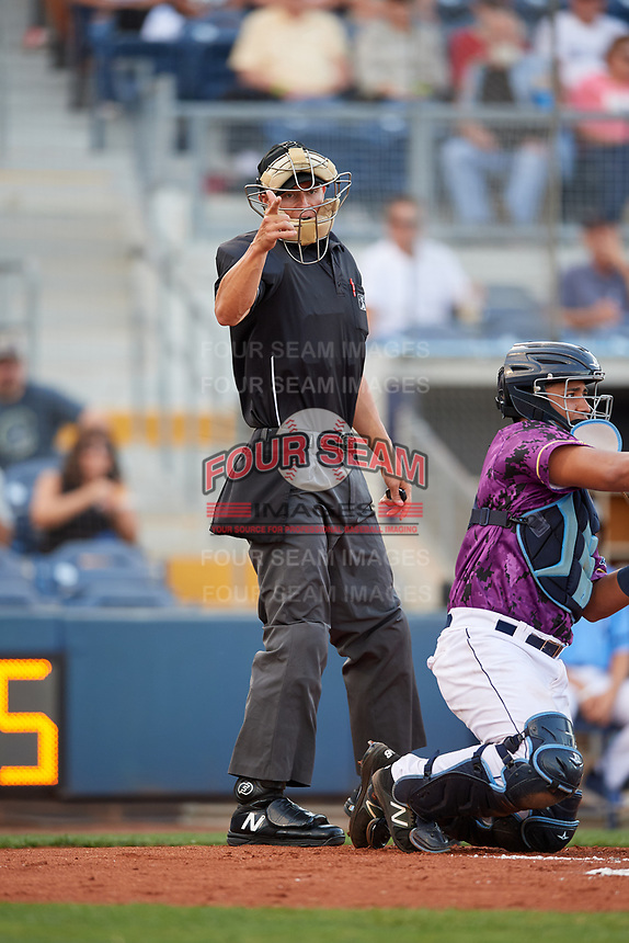Home plate umpire Tyler Wilson calls a strike behind catcher David Rodriguez (13) during a game between the Palm Beach Cardinals and the Charlotte Stone Crabs on April 21, 2018 at Charlotte Sports Park in Port Charlotte, Florida.  Charlotte defeated Palm Beach 5-2.  (Mike Janes/Four Seam Images)