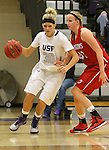 SIOUX FALLS, SD - JANUARY 16:  Teagan Molden #30 from the University of Sioux Falls drives against Drew Sannes #42 from Minnesota Moorhead in the second half of their game Friday night at the Stewart Center.  (Photo by Dave Eggen/Inertia)