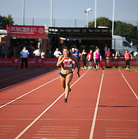 2014 July 19th<br /> Pictured: Mica Moore<br /> RE: Welsh sprinter Mica Moore competing in the women's 100m A final at the Welsh Athletics International in Cardiff.