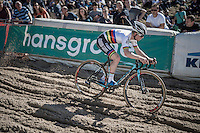 Eli Yserbyt (BEL/U23/Marlux-Napoleon Games) descending into the infamous 'Pit' during the U23 mens race<br /> <br /> CX Superprestige Zonhoven 2016