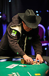 Hoyt Corkins stacks chips after doubling up through Scott Sevier.