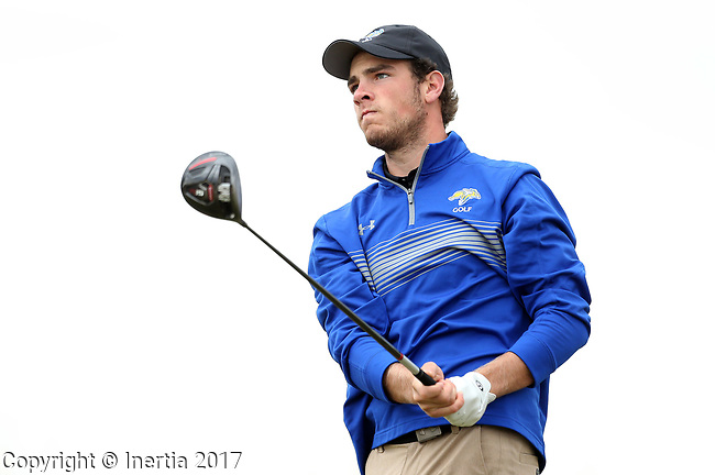 VALENTINE, NE - OCTOBER 2: Jacob Otta from South Dakota State University watches his tee shot on the second hole during the SDSU Invite Monday at The Prairie Club in Valentine, NE. (Photo by Dave Eggen/Inertia)