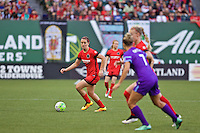 Portland, Oregon - Sunday April 17, 2016: Portland Thorns FC midfielder Lindsey Horan (7). The Portland Thorns play the Orlando Pride during a regular season NWSL match at Providence Park. The Thorns won 2-1.