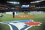 General view,<br /> APRIL 4, 2014 - MLB :<br /> Toronto Blue Jays and New York Yankees players line up during pre-game ceremonies for the Blue Jays Home Opener at Rogers Centre in Toronto, Ontario, Canada. (Photo by AFLO)