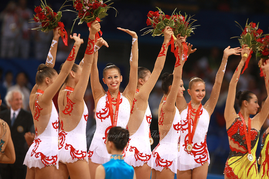 August 24, 2008; Beijing, China; Rhythmic group from Russia celebrates taking gold in the group All-Around final at 2008 Beijing Olympics..(©) Copyright 2008 Tom Theobald