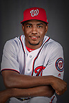 22 February 2019: Washington Nationals outfielder Victor Robles poses for his Photo Day portrait at the Ballpark of the Palm Beaches in West Palm Beach, Florida. Mandatory Credit: Ed Wolfstein Photo *** RAW (NEF) Image File Available ***