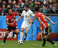(180615) -- YEKATERINBURG, June 15, 2018 -- Uruguay s Luis Suarez (C) controls the ball during a group A match between Egypt and Uruguay at the 2018 FIFA World Cup WM Weltmeisterschaft Fussball in Yekaterinburg, Russia, June 15, 2018. ) (SP)RUSSIA-YEKATERINBURG-2018 WORLD CUP-GROUP A-EGYPT VS URUGUAY DuxYu PUBLICATIONxNOTxINxCHN  <br /> Ekaterinburg 15-06-2018 Football FIFA World Cup Russia  2018 <br /> Egypt - Uruguay / Egitto - Uruguay <br /> Foto Xinhua/Imago/Insidefoto