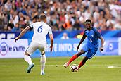 June 13th 2017, Stade de France, Paris, France; International football friendly, France versus England;  OUSMANE DEMBELE (fra) ic covered by John Stones