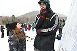 FRANCONIA, NH - MARCH 10:   University of Vermont athletes enjoy the atmosphere of Slalom event at the Division I Men's and Women's Skiing Championships held at Cannon Mountain on March 10, 2017 in Franconia, New Hampshire. (Photo by Gil Talbot/NCAA Photos via Getty Images)