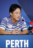 2nd January 2020; RAC Arena , Perth, Western Australia, Australia; ATP Cup Team Press conferences, Japan; Go Soeda of Japan speaks at the team press conference - Editorial Use