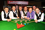The Drumaness, Co. Down team that finished runners-up in the Ladbrokes All Ireland Club Snooker Championship final at The Gleneagle Hotel, Killarney. From left are Martin McGoran, Darren Dornan, Hugh Murdock, Patrick O'Donoghue, Gleneagle Hotel, Ramie McAllister,Colin McHugh, Ladbrokes,  Peter Gray and Gary Menary. Picture: Eamonn Keogh (MacMonagle, Killarney)