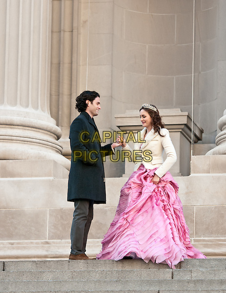Penn Badgley & Leighton Meester.film 'Gossip Girl' on the steps of The Metropolitan Museum of Art, New York City, NY, USA..6th January 2012 .on the set of filming acting costume black jacket grey gray trousers yellow check shirt pink gown dress white full length holding hands side profile  tiara.CAP/ADM/CS.© Chris Smith/AdMedia/Capital Pictures
